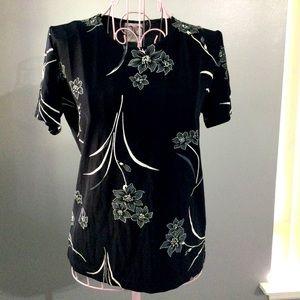 💓 Bentley Women Black White Floral nylon shirt